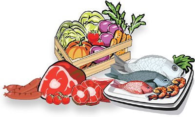 image black and white library Veggies clipart fish. Beef meat vegetable urbanbox