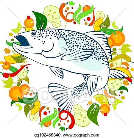 vector free Eps illustration food with. Veggies clipart fish