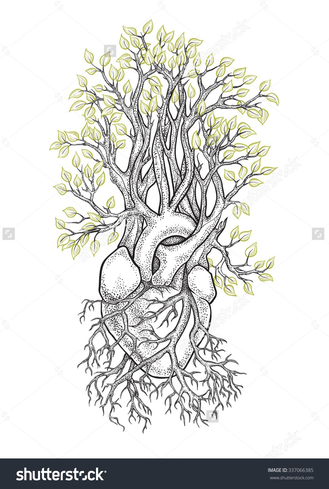 picture black and white library Veins drawing tree. Human anatomical heart with