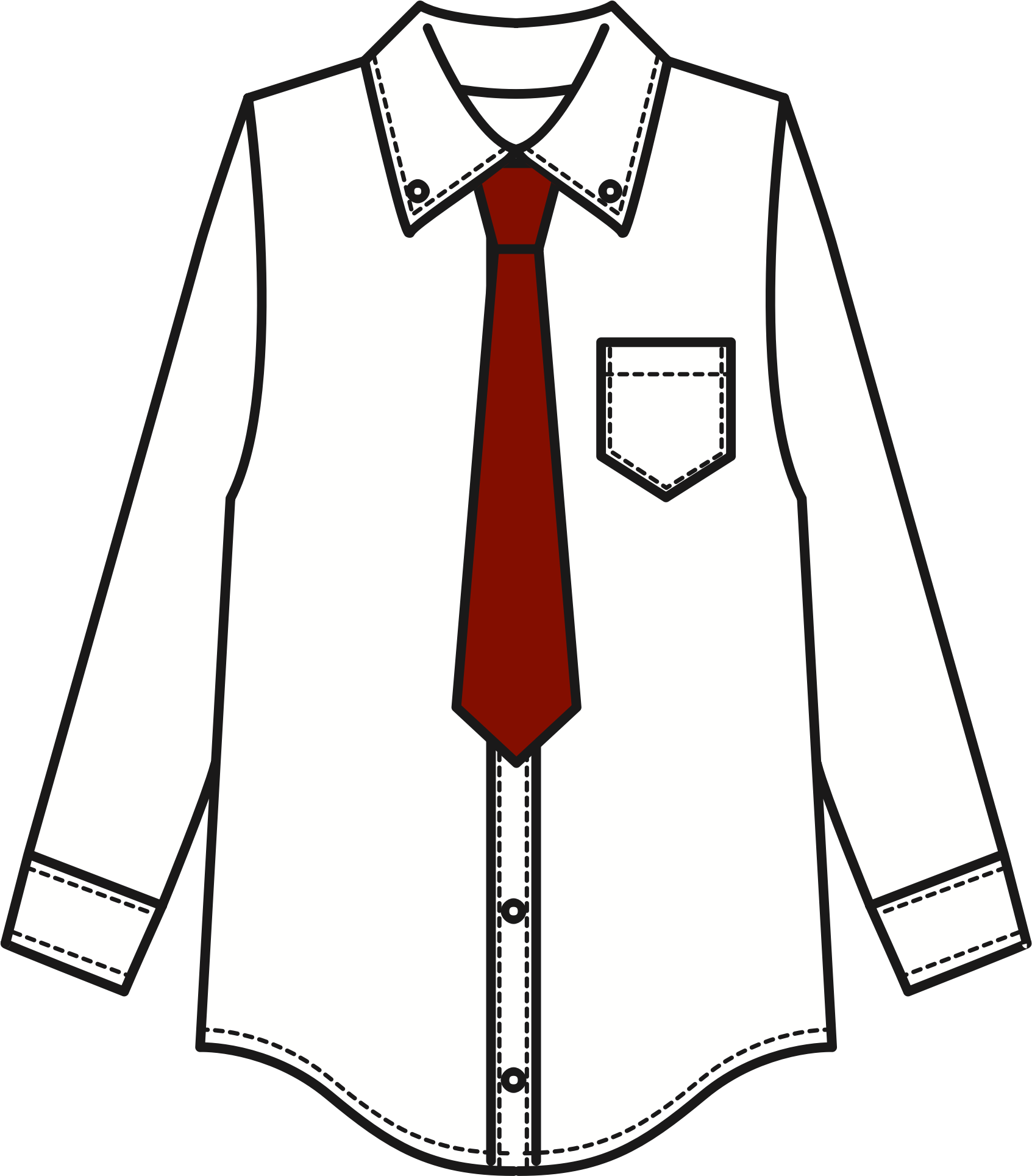 vector freeuse stock White Shirt and Tie Icons PNG