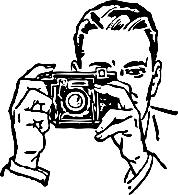 graphic transparent library Free man with a. Video camera clipart black and white