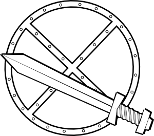 vector library stock Viking clipart black and white. Jonadab round sword shield