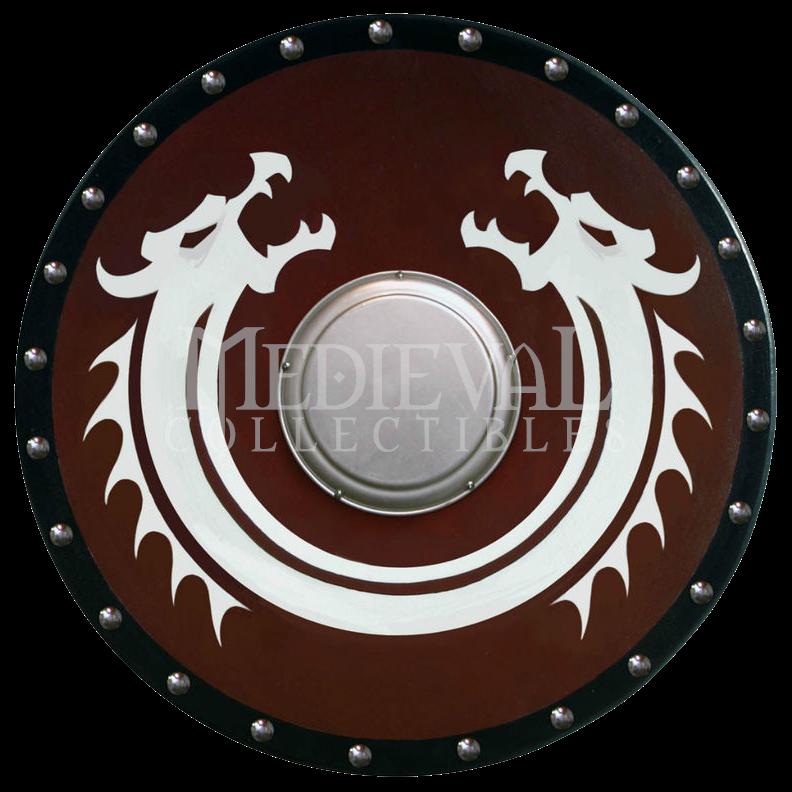 clip art stock Round Viking Dragon Shield with Boss