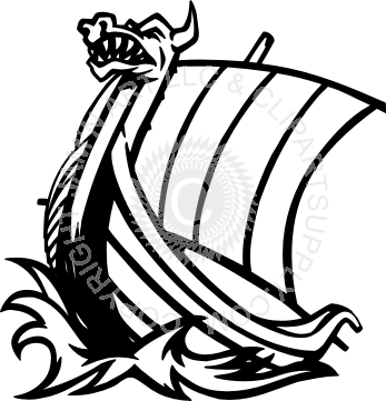 banner black and white Viking ship