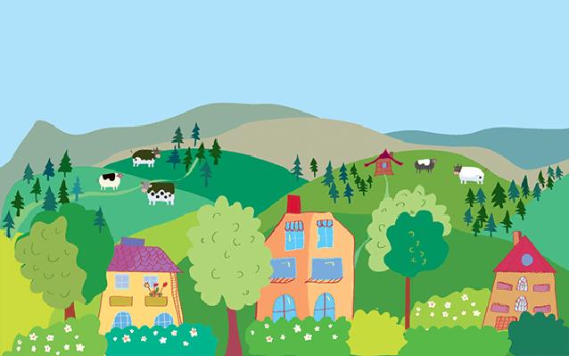 clip art Landscape with mountain hills. Village clipart