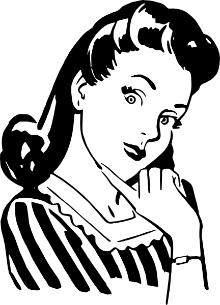 clip black and white stock Female clip art at. Vintage clipart