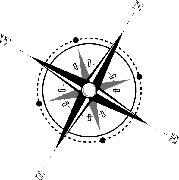 png Black And White Compass Clip Art at Clker