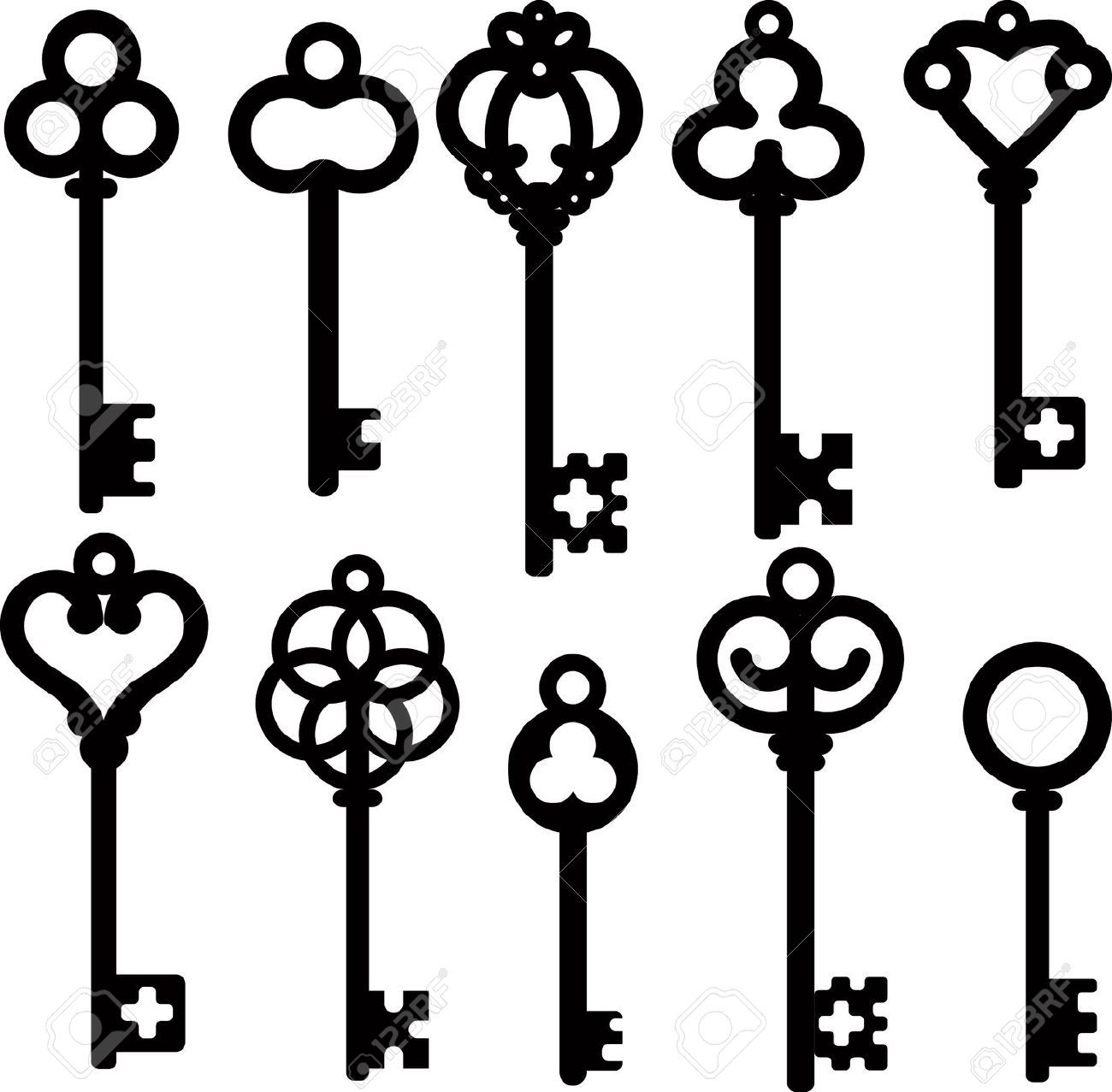 png black and white download Pin on let s. Vintage key clipart