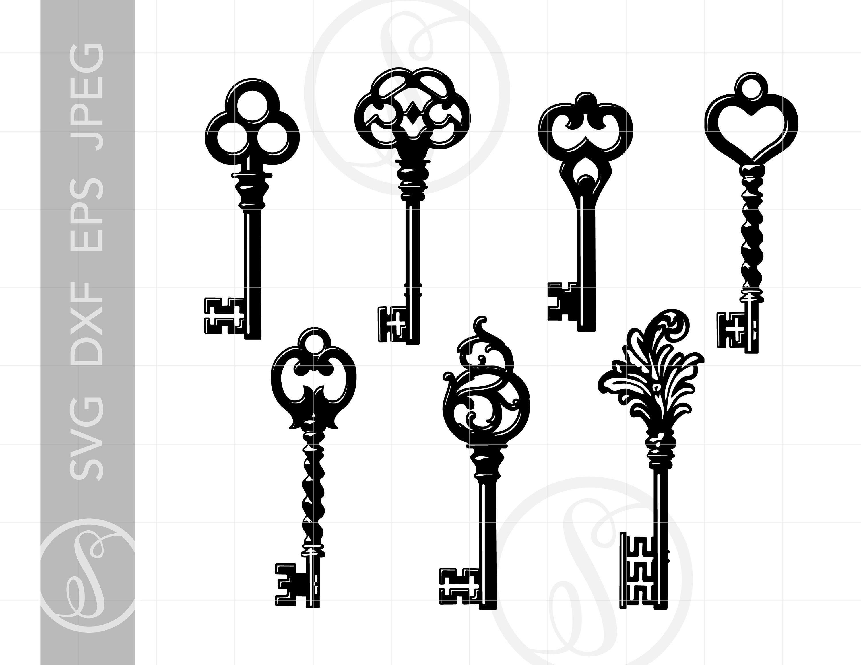 png Vintage key clipart. Keys svg clip art