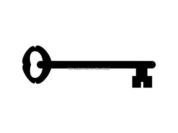 banner black and white library Vintage key clipart. Clip art svg printable