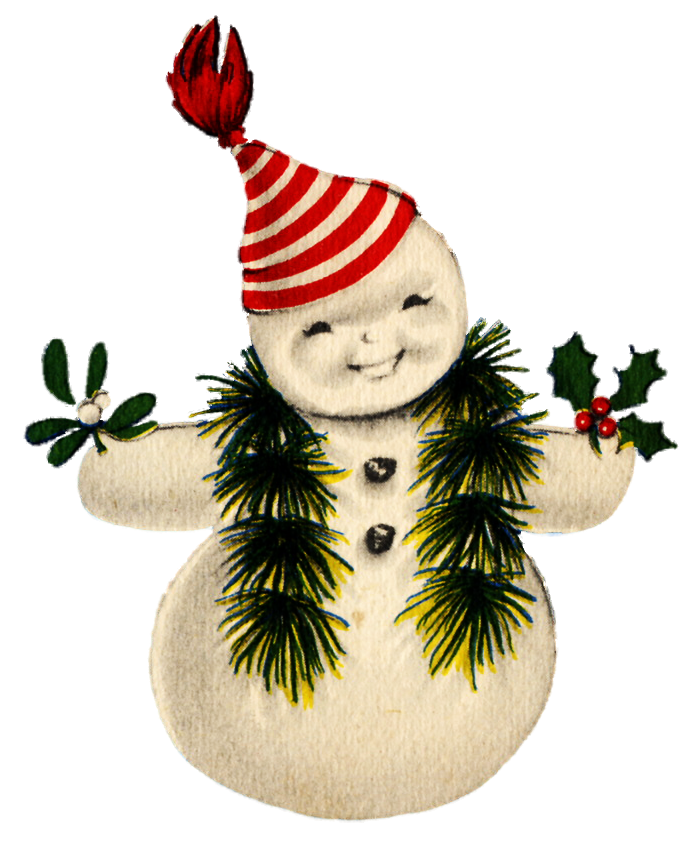 graphic royalty free library Vintage snowman
