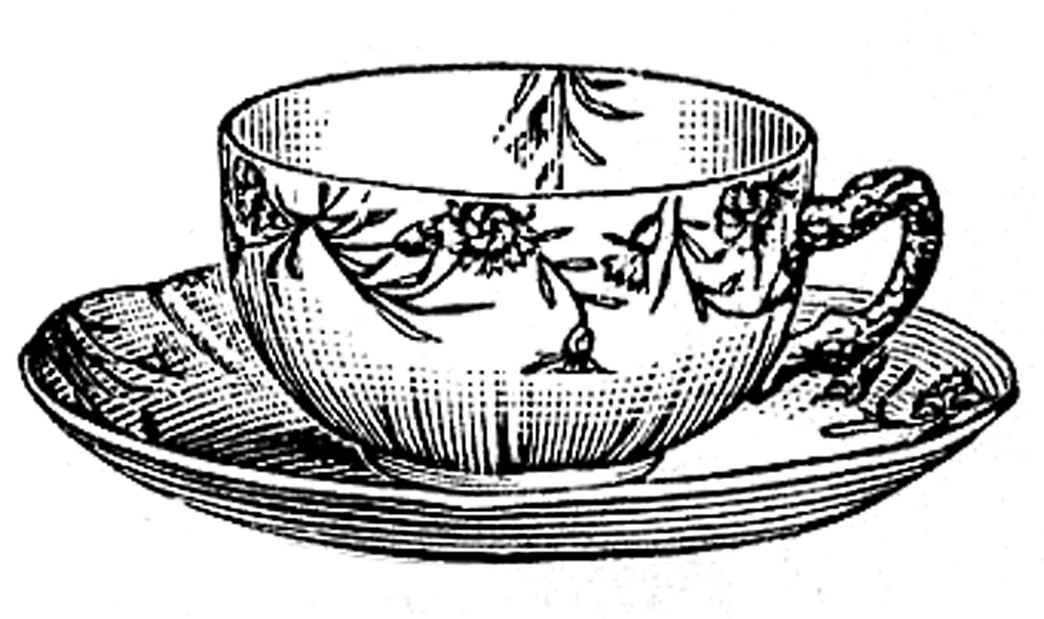graphic library stock Vintage teacup clipart.  black and white