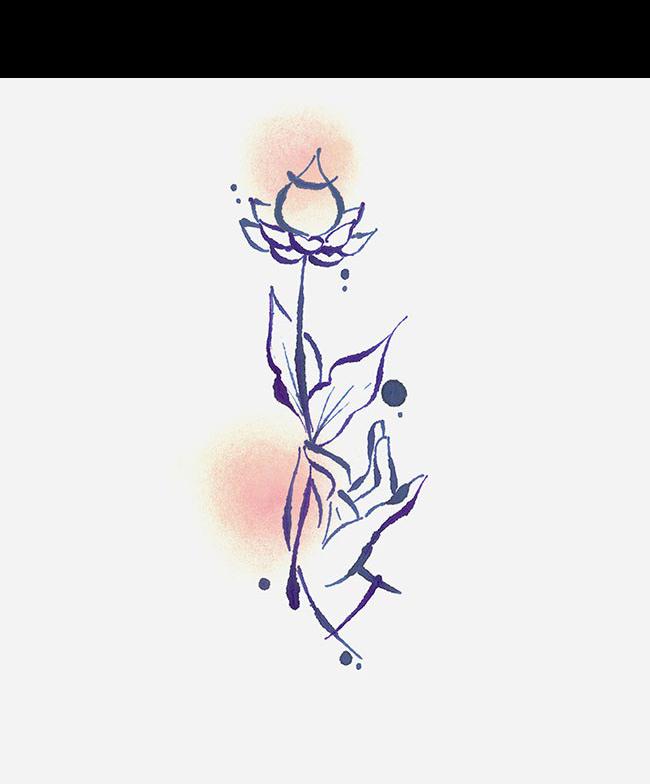banner transparent Flower illustration hand painted. Violets drawing simple