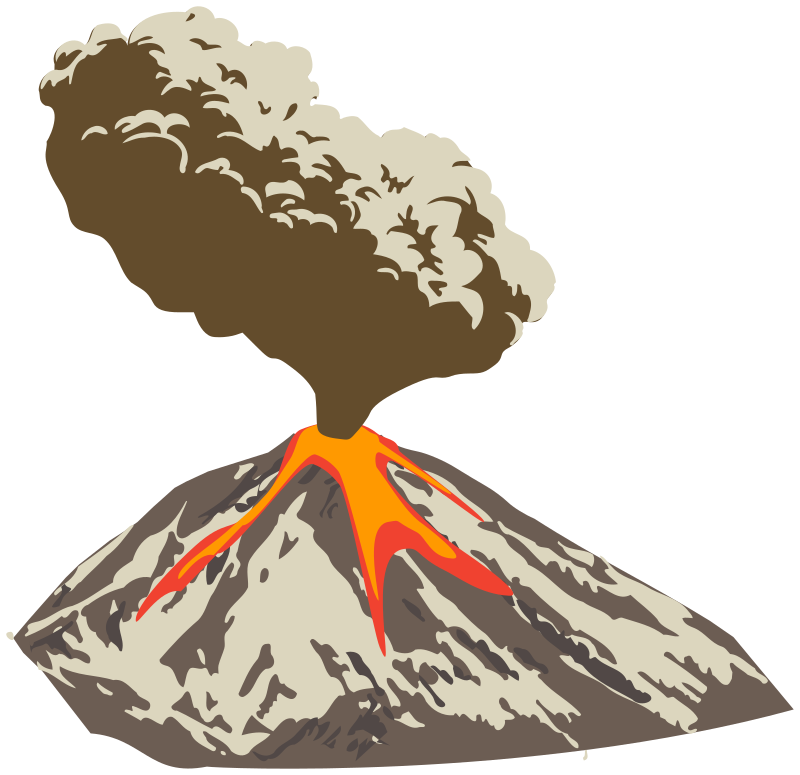 svg transparent stock Erupting with ash plume. Volcano clipart lava dome