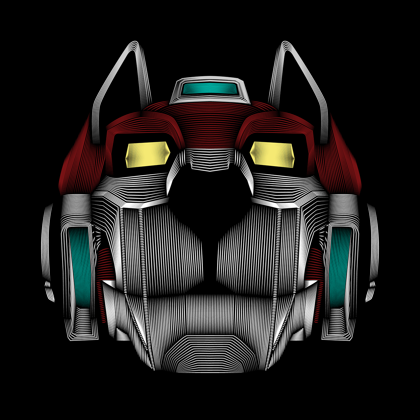 image black and white library Line illustration on behance. Voltron vector.