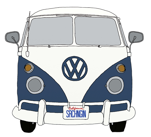 vector black and white stock Vector bus vintage. Vw front end blue