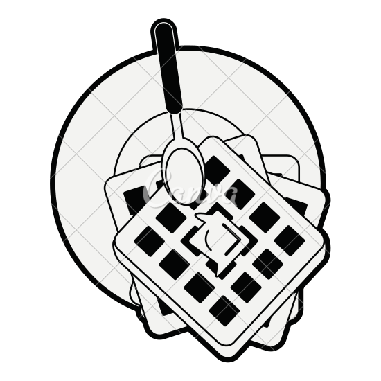 graphic free stock Waffle clipart black and white. Waffles drawing at getdrawings