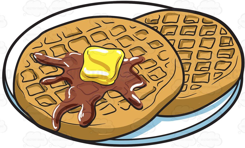 svg transparent library For breakfast cartoon vector. Waffles clipart