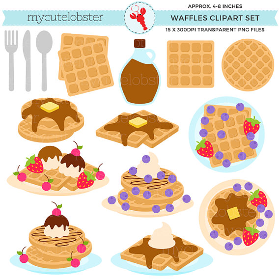 vector freeuse library Waffles set food clip. Waffle breakfast clipart