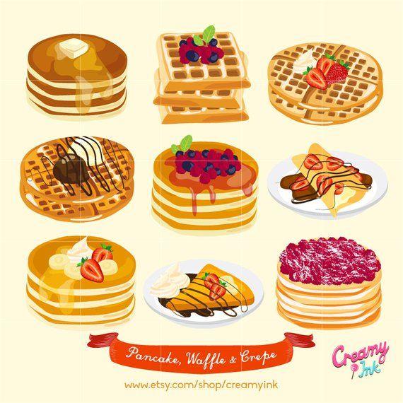 jpg free library Pancake digital vector clip. Waffle breakfast clipart