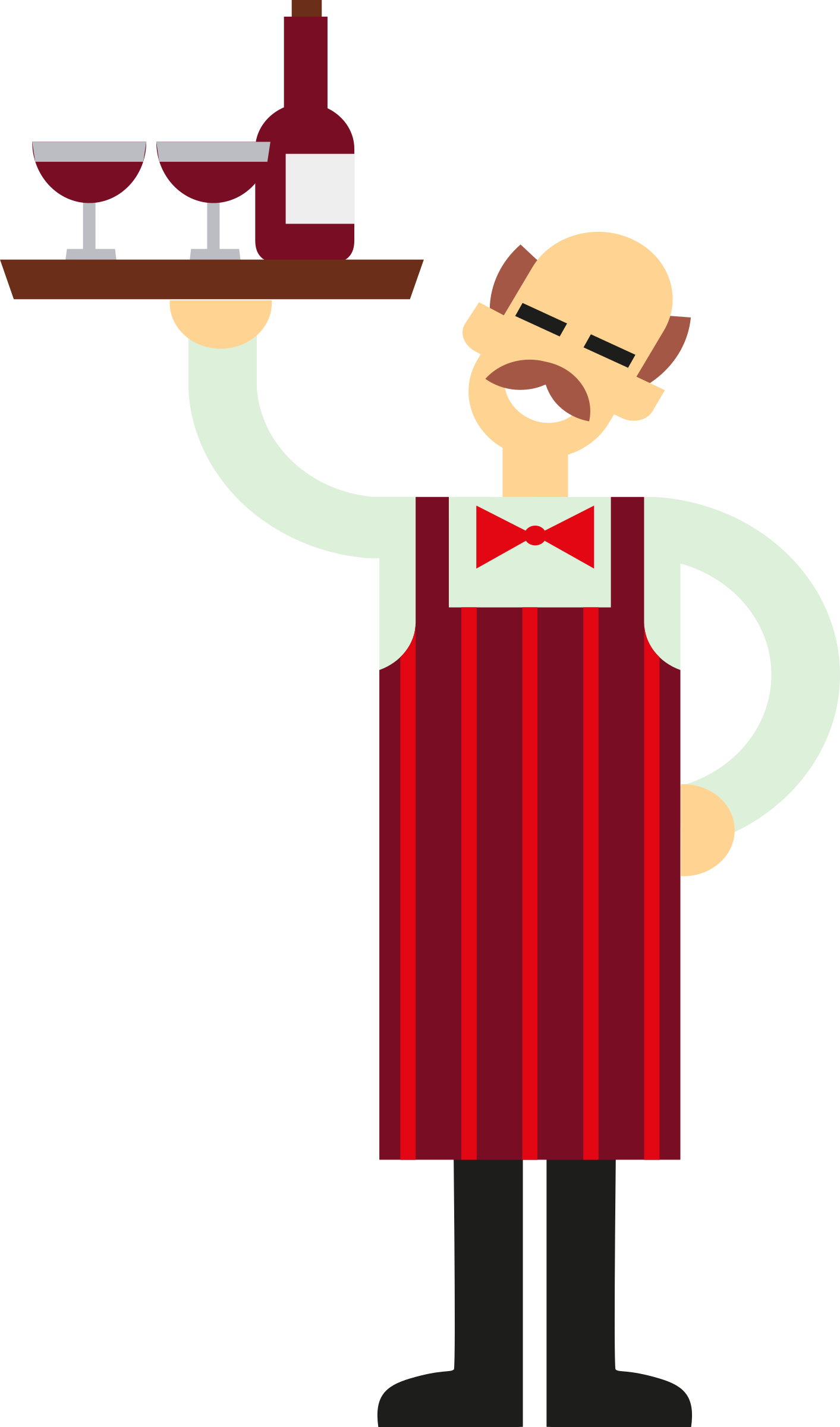 vector royalty free Waiter clipart. With wine big image
