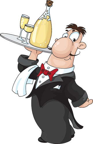 black and white stock Restaurant waiter clipart. Cook and views album