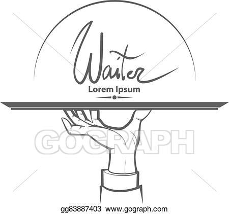 graphic black and white Vector illustration logo eps. Waiter hand clipart