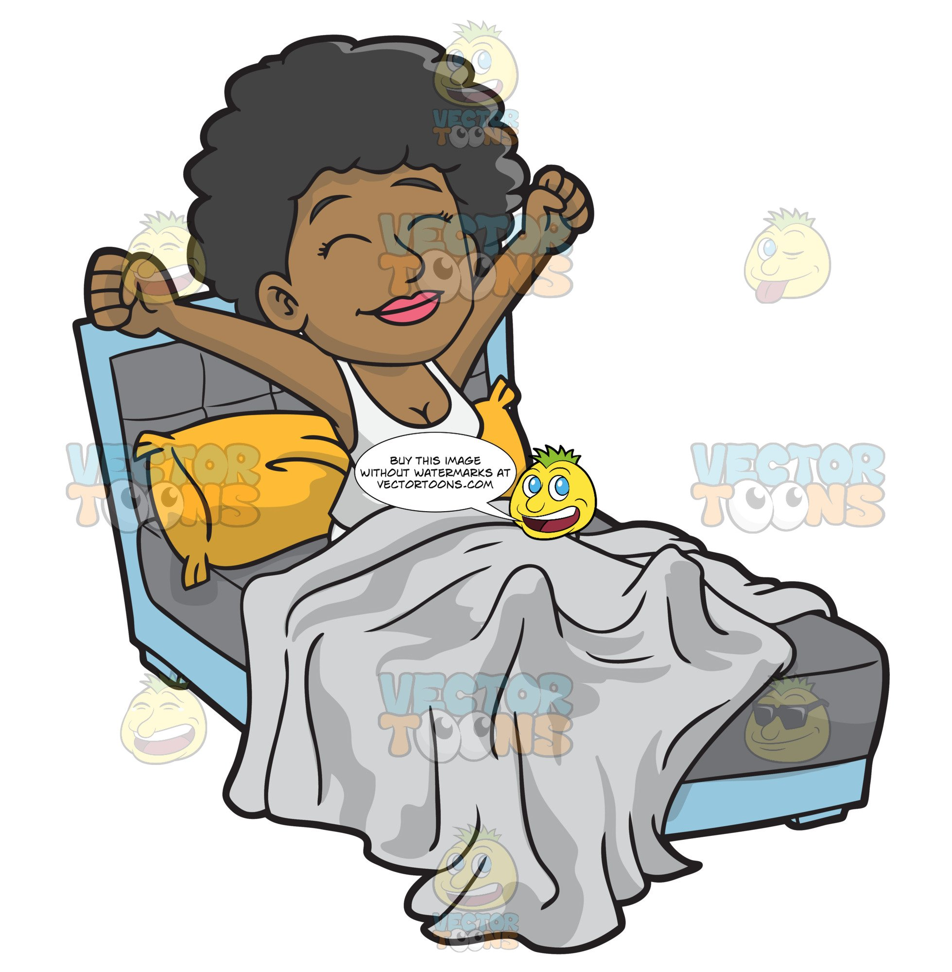 graphic freeuse download A happy black woman. Waking clipart morning person.