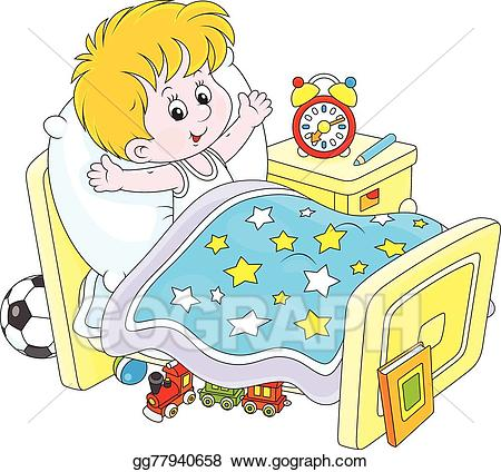 image freeuse library Vector stock boy up. Waking clipart