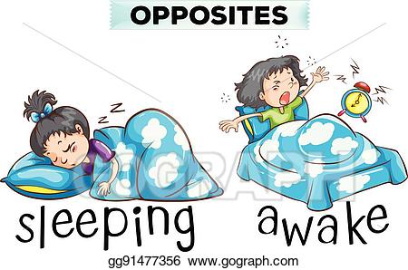 picture free download Eps illustration opposite wordcard. Waking clipart asleep.