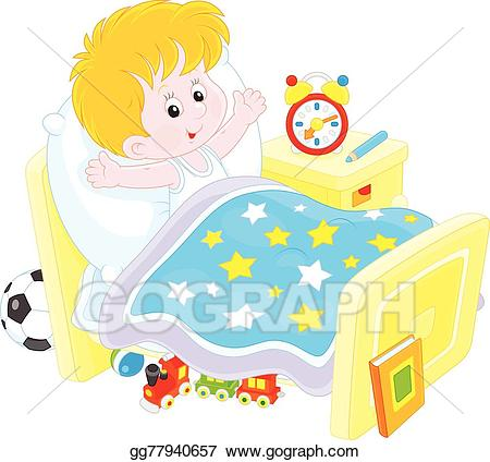 clip Vector stock boy up. Waking clipart bed