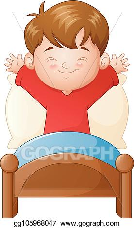 graphic transparent stock Waking clipart gets up. Vector illustration little boy