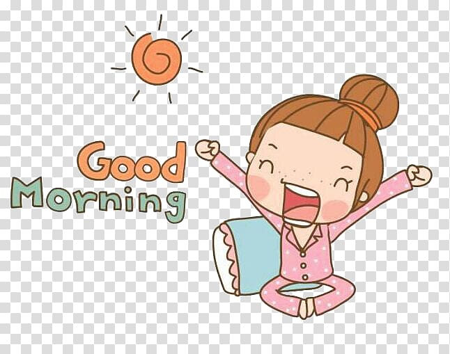 freeuse stock Girl up with text. Waking clipart good morning
