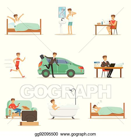 svg freeuse download Waking clipart morning evening. Vector art modern man