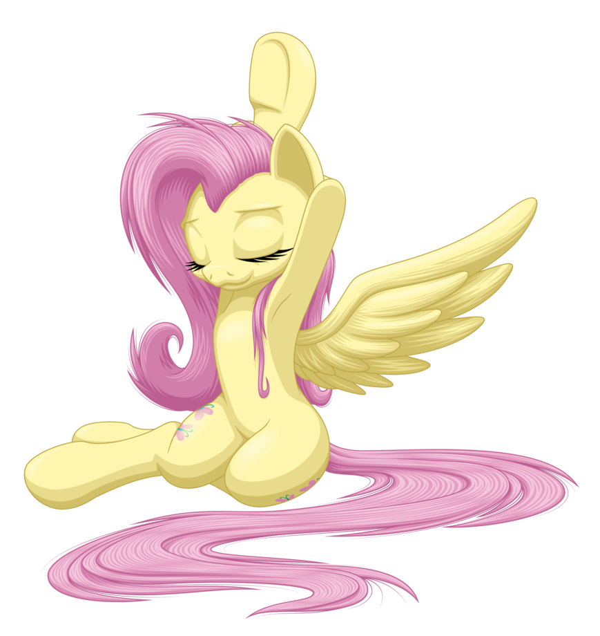 jpg library library Waking clipart morning stretch. Fluttershy by ohemo on