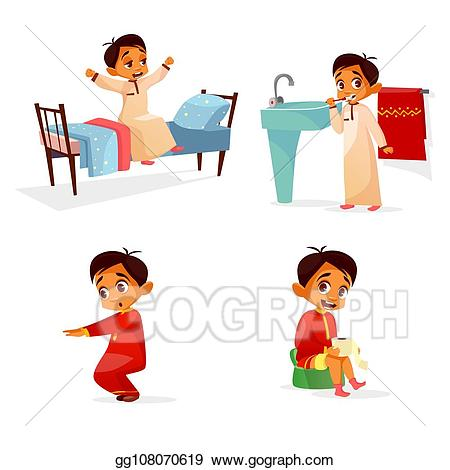 clip art library Clip art arab boy. Waking clipart morning stretch
