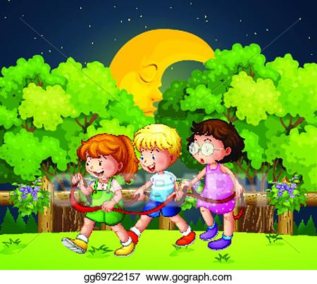 clip download Waking clipart nights. Vector stock three kids.