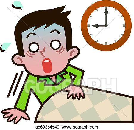image free Vector art men surprised. Waking clipart overslept.
