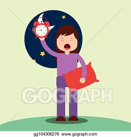 vector black and white download Waking clipart overslept. Eps vector girl up