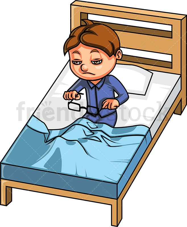 graphic free library Boy up in the. Waking clipart toddler bed.