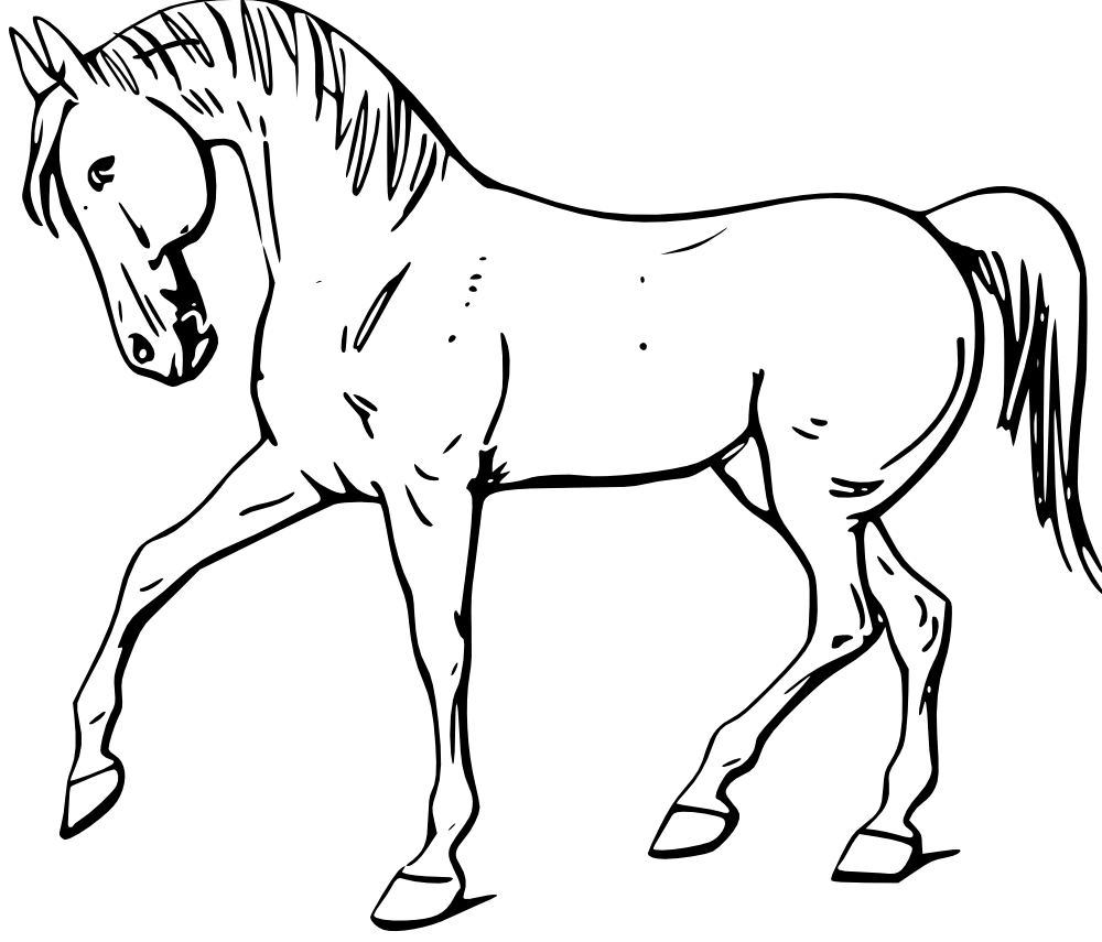image library library Onlinelabels clip art horse. Walking clipart black and white