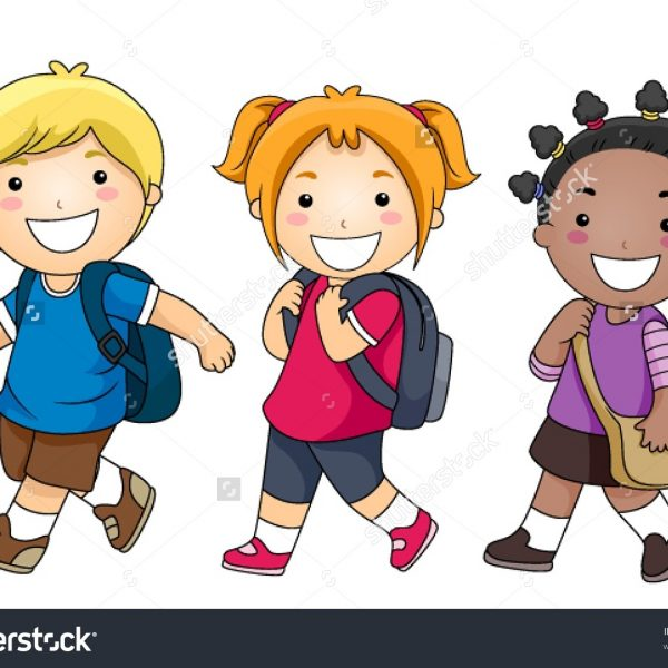 banner freeuse stock Students walking clipart. Walk to school within