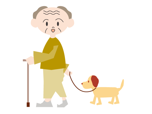 graphic library stock Grandpa using a cane. Person walking dog clipart.