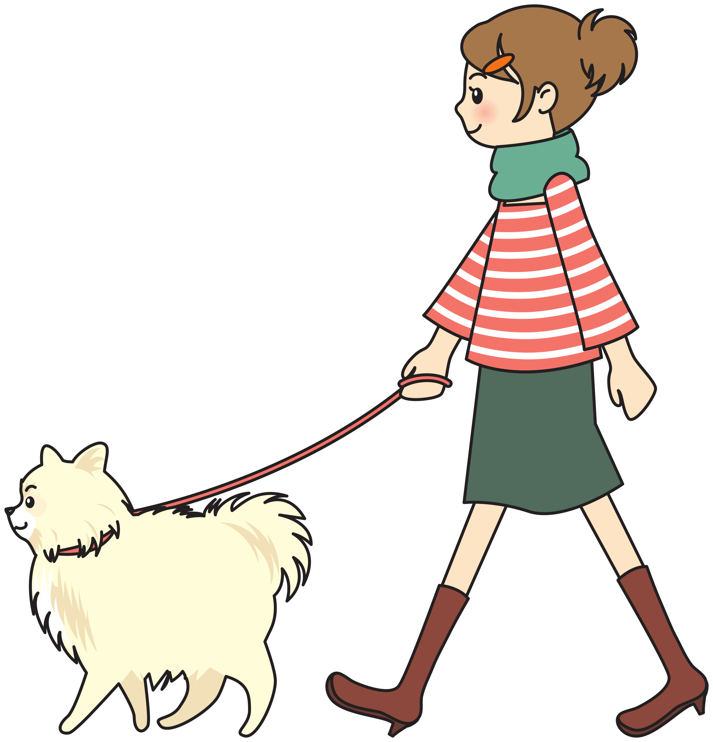 free Walking a dog clipart. Woman big image png