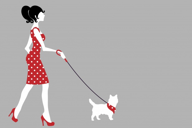 clipart black and white library Woman free stock photo. Walking dog clipart.