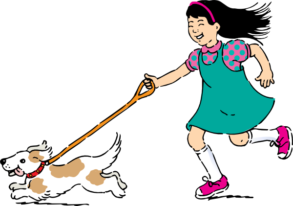 image royalty free Girl clip art at. Dog walking clipart
