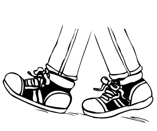 vector library download Black and white free. Walking feet clipart.