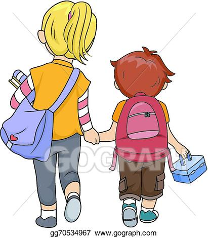 jpg transparent download Vector stock siblings illustration. Walking home clipart