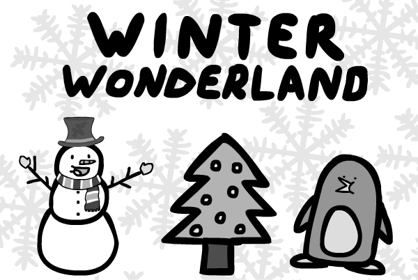 image black and white download The hawkeye . Walking in a winter wonderland clipart
