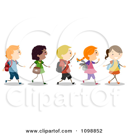 image stock Walking in line clipart. Station .